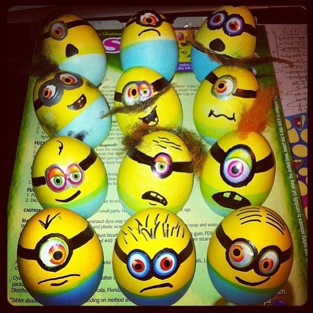 hand painted minion easter eggs easter egg decorating ideas diy easter crafts for kids-f19976