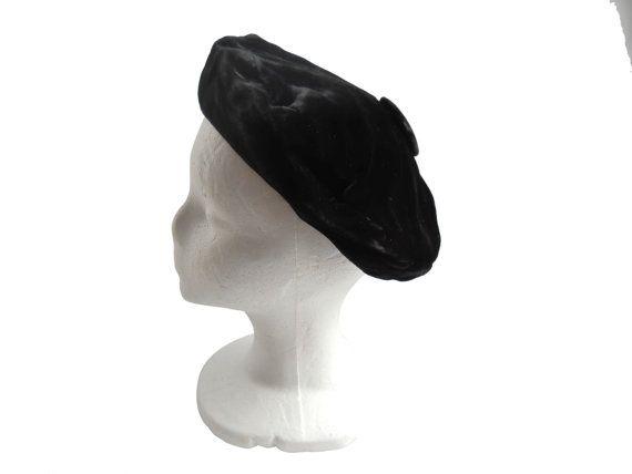 Black Beret Hat Women Beret Hat Black Velvet by TheVilleVintage, $20.00