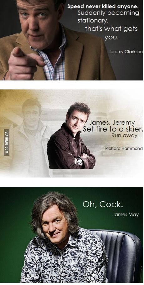 Oh, cock. Can't help but notice how the punctuation of Hammond's quote makes it look like he's telling James and Jeremy to set fire to a skier then run away. #jeremyclarkson #hammond #jamesmay