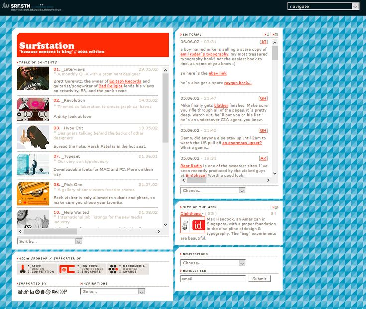 SurfStation website in 2002
