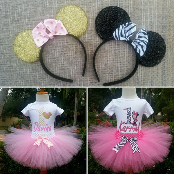 Minnie tutu outfits with Minnie ears.  Follow us Facebook and Instagram... Little Luxuries by NC Kreations