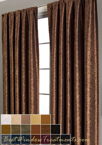Contessa Curtain Panels In Copper Gold With Lining And