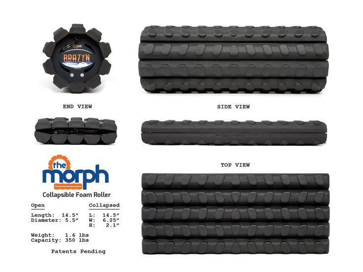 PRE-ORDER NOW! Expected Shipping: late-June 2016 The most portable/storable foam roller in the world, THE MORPH provides the usability and functionality of a standard size foam roller with groundbreaking Collapsible Core Technology (CCT).  Features          The Biggest Innovation In Foam Rolling Since The Foam Roller     - patents pending -      Warranty  30-Day Guarantee: Brazyn Life wants you to be completely satisfied with your purchase. If you are not satisfied with any part of your…