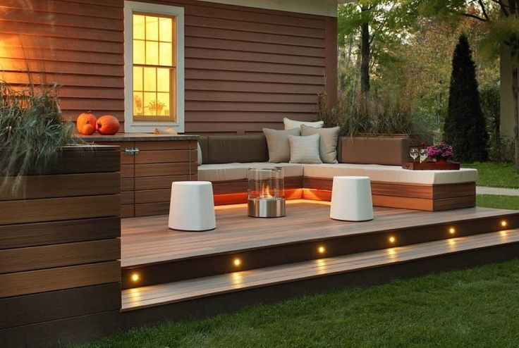 Outdoors, Modern Patio In Small Yard Using Wooden Deck And Recessed Lights Ideas With Portable Fire Pit And White Seats Decoration: Wonderful Wooden Deck Application for Patio Ideas in Small Yards