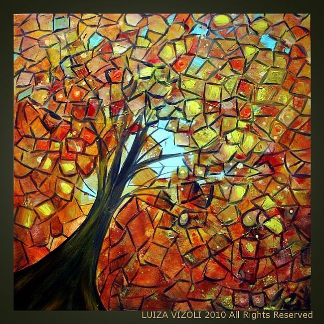AUTUMN TREE - by LUIZA VIZOLI from Contemporary Cubism Art Gallery