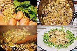 Risotto de cebada con espinacas, calabacín y champiñones! Healthy twist to classic risotto
