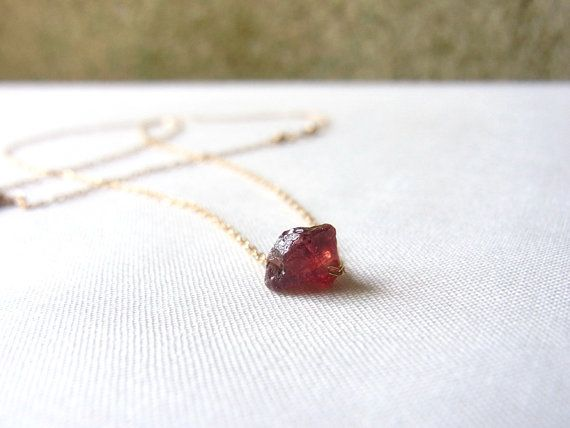 Red Garnet Necklace // January Birthstone by SanctuaryJewellery, ¥4000