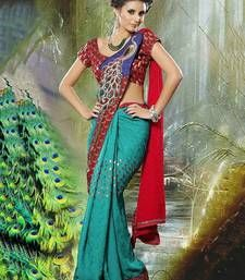 Buy BLUE printed georgette saree with blouse party-wear-saree online