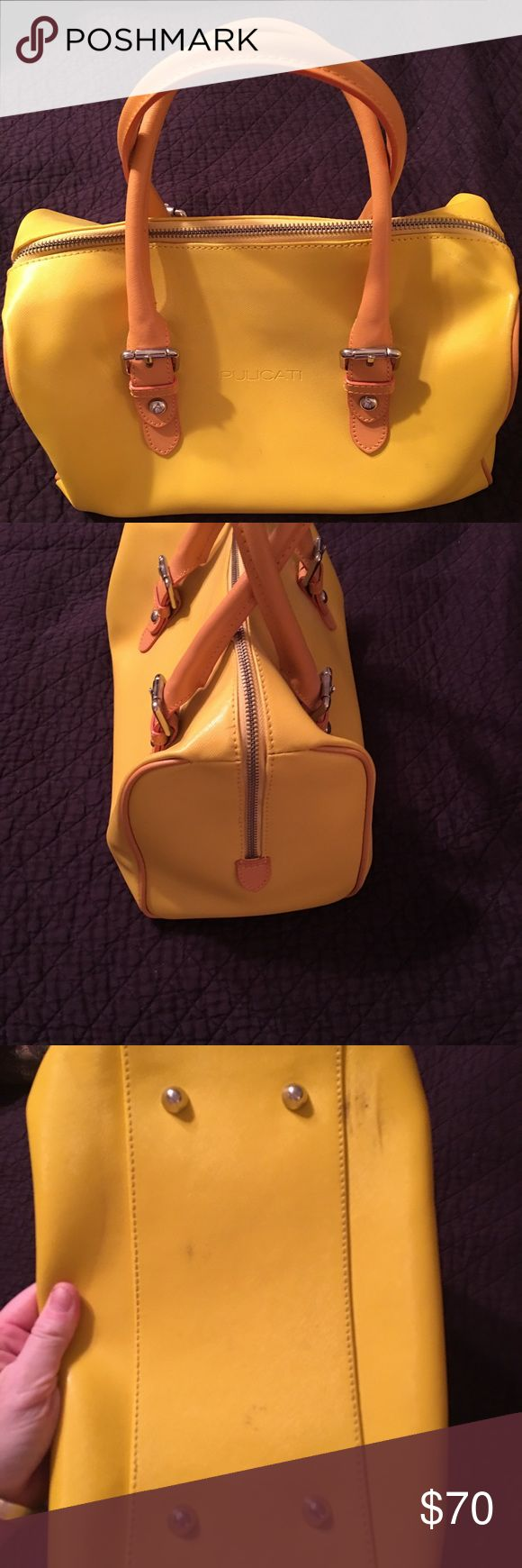Pulicati Bowler Bag Guanine Leather Made in Italy Pulicati Bowler Bag Guanine Leather Made in Italy Beautiful Yellow for Spring—Has a few scuffs on the bottom and one by the zipper (shown in pics) Pulicati Bags Totes