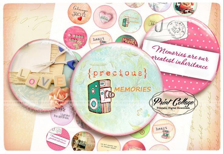 Buttons Pinback Digital Printable Images for Button machine 1.313 inch Flatback Buttons Flair Buttons Clip art Memories b161 - pinned by pin4etsy.com