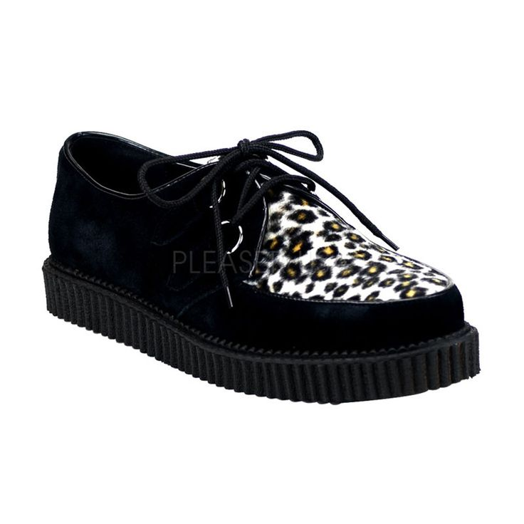 DEMONIA CREEPER-600 Men's Black Suede-Cheetah Fur Creepers