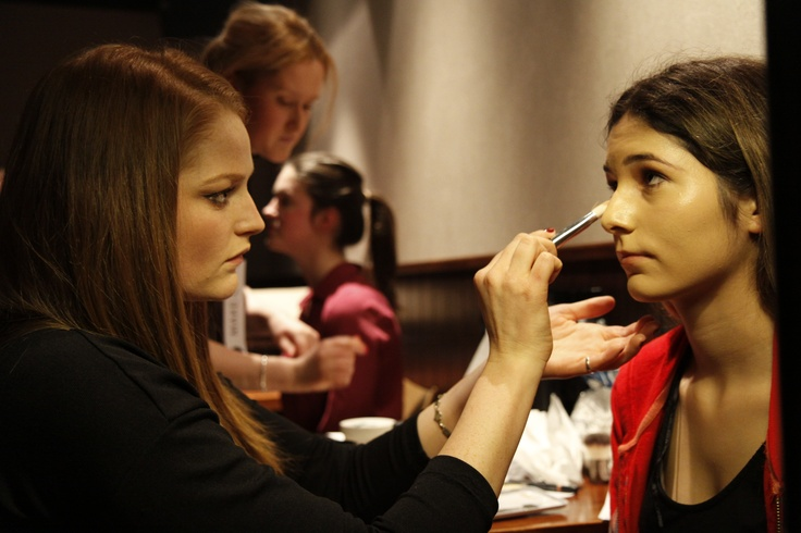 The art starts! #makeup artist and #model preparing for the show.  BMW Fashion in the Capital.