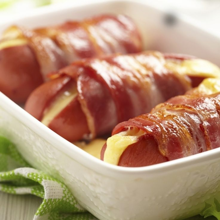 A Tasty recipe for great cheese stuffed hot dog bacon wraps.�. Cheese Stuffed Hot Dog Bacon Wraps Recipe from Grandmothers Kitchen.
