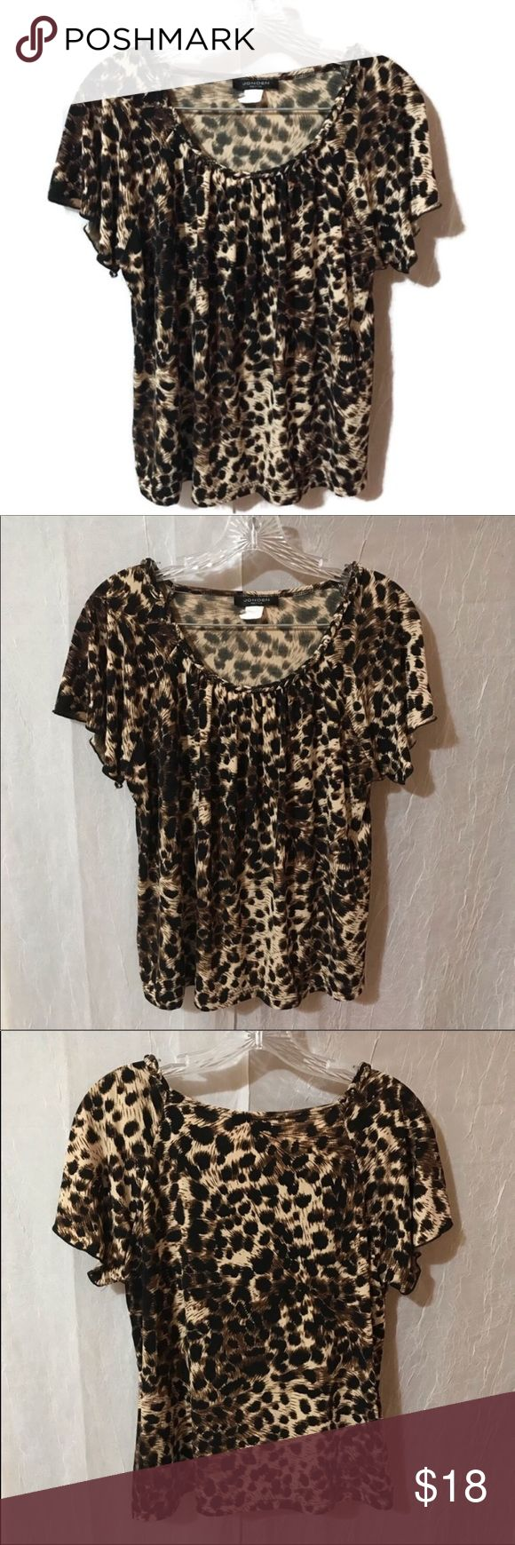 """JONDEN PETITE Women's Leopard Print Blouse Jonden Petite Short Sleeve Pleated Scoop Neck Leopard Print Blouse Size PL Approximate Measurements Flat: Armpit To Armpit 18 1/2"""" Length 21""""  90% Polyester 10% Soandex  (H3) 6.3oz All Measurements Are Approximate And Photographs Are Provided For These Measurements. If You Have Any Questions Or Need Additional Photographs, Please Ask Before Your Purchase. 5⭐️ Star Seller  Smoke Free 🚭 Pet Friendly Home 🐱🐶🐠 Jonden Tops Blouses"""