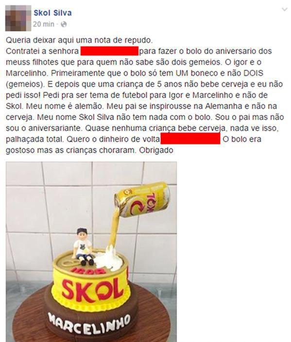 O dia que um bolo de Skol arruinou o aniversário de duas crianças