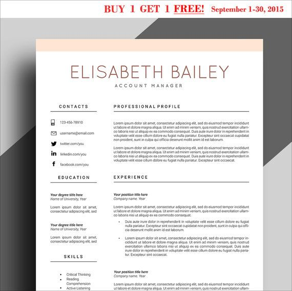BUY 1 GET 1 FREE All Items Resume template Cv by ChedonResume