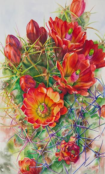 Watercolor Painting Demonstration of orange cactus flowers by Richland, WA Artist Lisa Hill