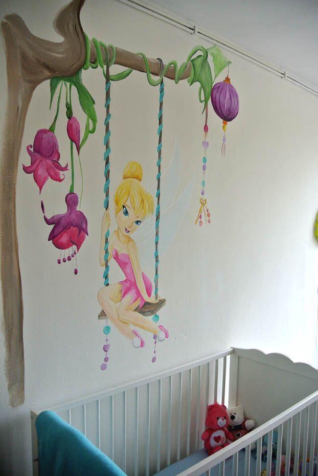 muurschildering tinkerbell meisjeskamer