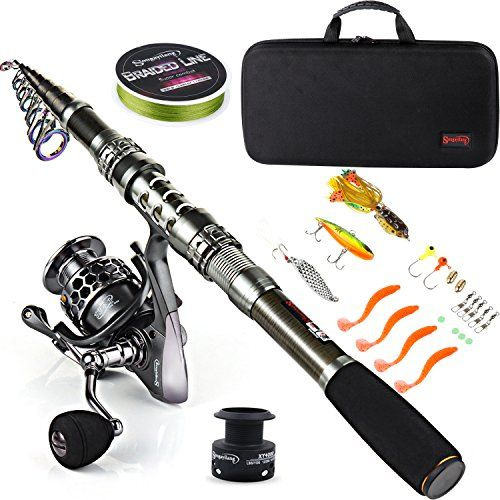 Sougayilang Fishing Rod Combos with Telescopic Fishing Pole Spinning Reels Fishing Carrier Bag For Travel Saltwater Freshwater Fishing.