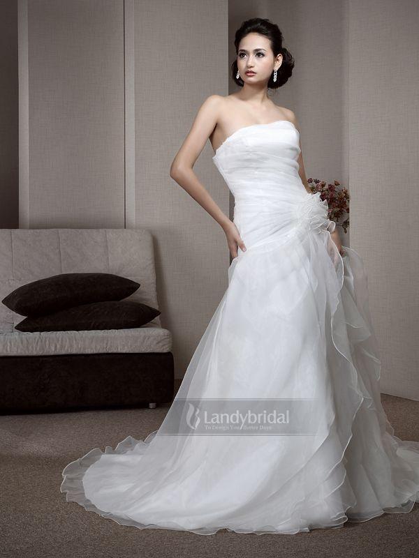 ウェディングドレス Aライン  ビスチェ  オーガンジー アイボリー 二次会 花嫁ドレス LD1105
