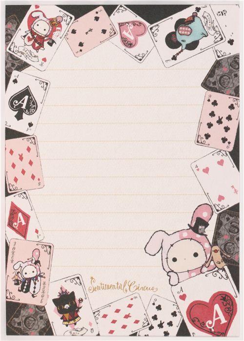 black Sentimental Circus rabbit card game Memo Pad 4