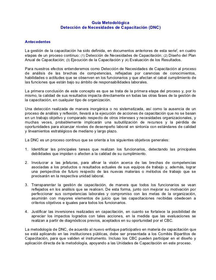 Guía Metodológica Detección De Necesidades De Capacitación Dnc Antecedentes La Gestión De La Capa Capacitacion Evaluacion Gestion