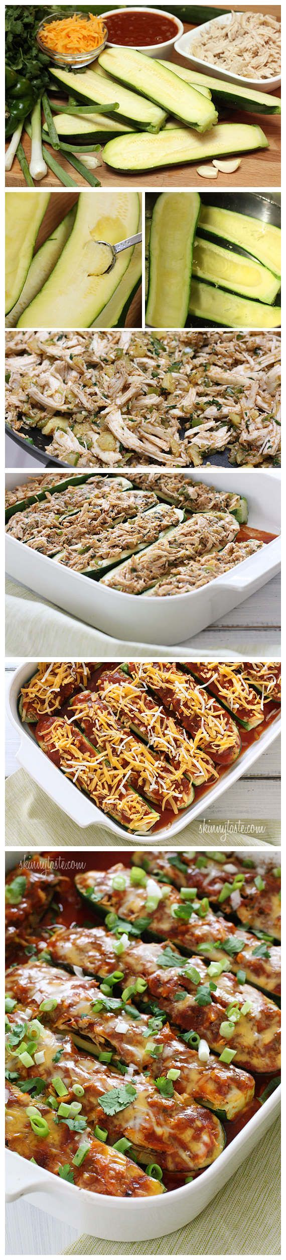 Chicken Enchilada Stuffed Zucchini Boats - joysama images