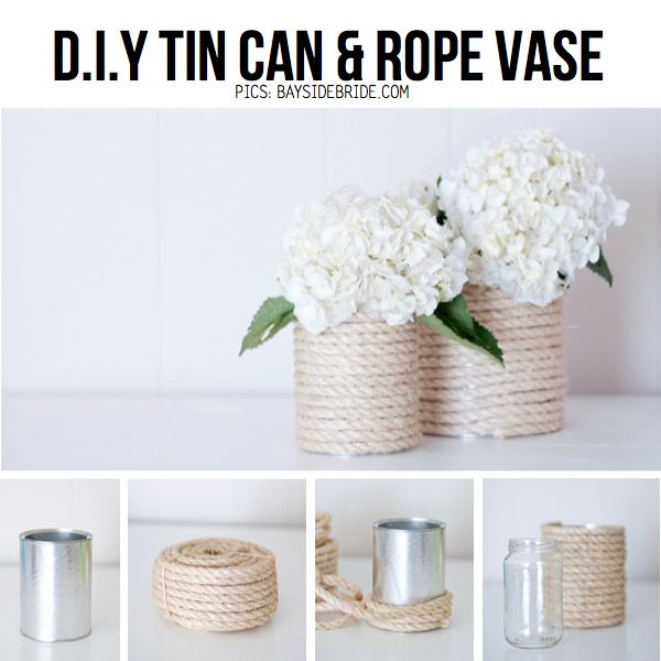 At first I thought these were just tin cans painted tan... which I like way better than the rope.