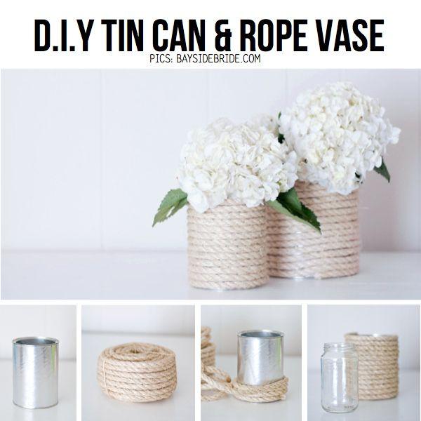 DIY Tin can rope vase