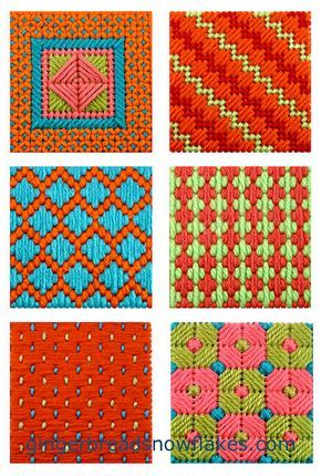 Excellent plastic canvas needlepoint sampler coasters tutorial from Gingerbread Snowflakes.