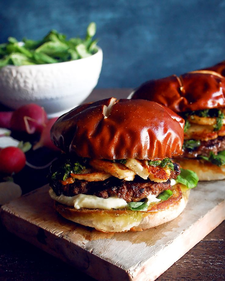 Halloumi Burgers with Grilled Ramp Chimichurri
