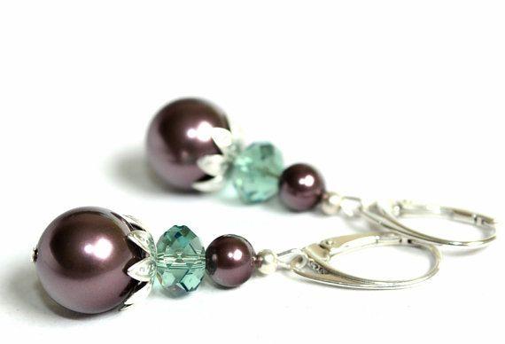 Sterling silver earrings with Swarovski purple by YUKIJewellery, €20.50