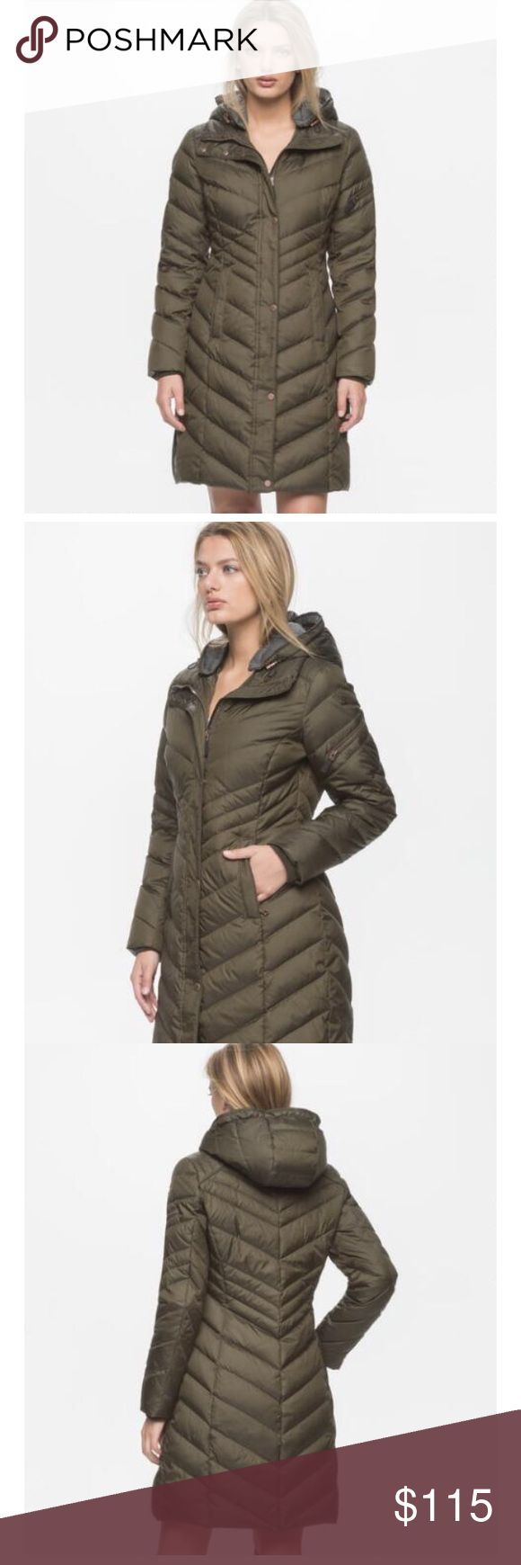 ANDREW MARC Rayna puffer coat New with tags! Gorgeous Rayna puffer coat in beautiful olive color from ANDREW MARC NEW YORK.  Size S. Purchased directly from Andrew Marc.  *Water-repellant exterior and 60/40 down fill.  *Zipper closure features hidden snap placket.  *Pockets are lined in fleece to keep hands toasty warm.  *Jersey-lined removable hood. *Machine wash cold This coat is fantastic!!! Andrew Marc Jackets & Coats Puffers