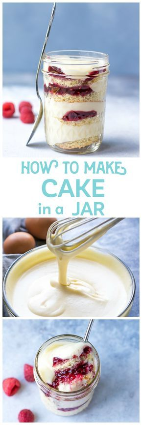 How to make Cake In A Jar. Simple to make, very convenient and great for a gift. Make it this Mother's Day! Sponge cake, raspberry preserves and lightened up pastry cream.