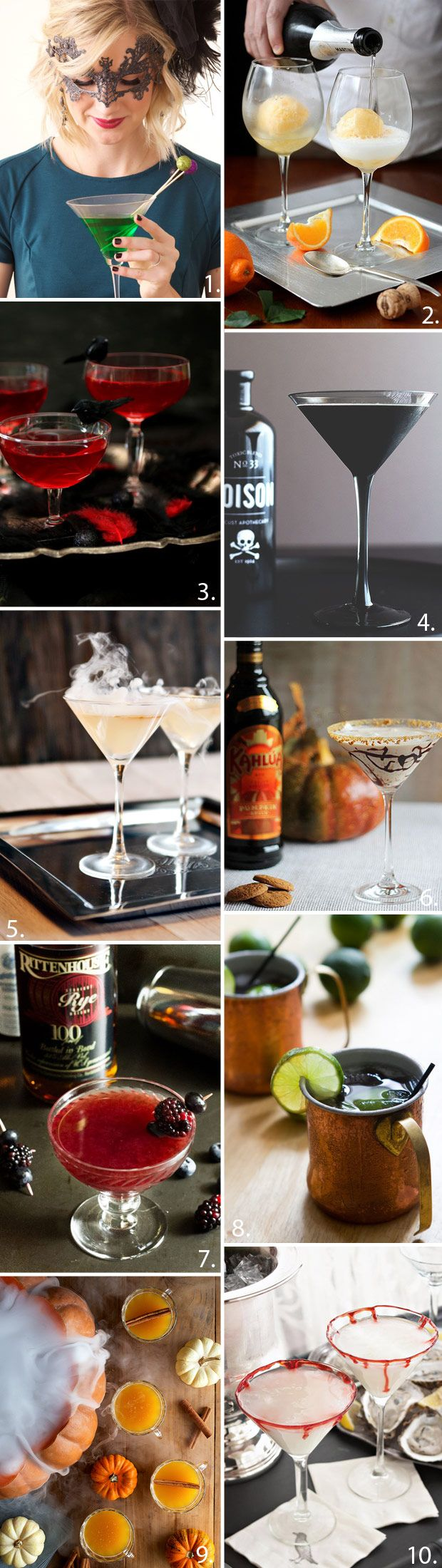 10 Halloween Cocktails - Read more on One Fab Day: http://onefabday.com/halloween-cocktail-ideas/
