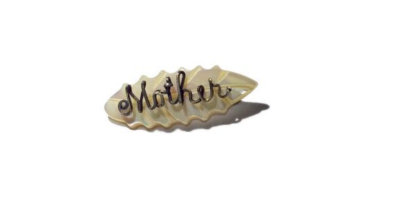 Vintage Carved Leaf Mother of Pearl Pin Wire by JacobandCharlies