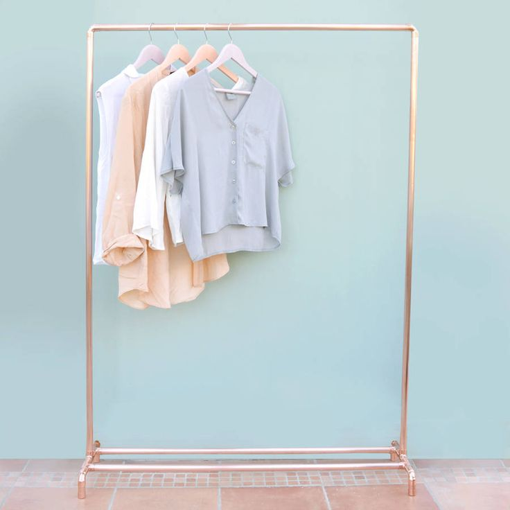 This copper (rose gold colour) clothing rail will complement your home, shop for retail display, or studio.Baskets, shoes and other items can be placed along the bottom bars for extra storage or the bottom can be left open to highlight the airy, minimal construction. Each garment rack is made to order from industrial copper pipes and fittings in our Brighton studio by the sea. Once finished your rail will be sanded, polished and sprayed with a strong coating to ensure it keeps its bright…