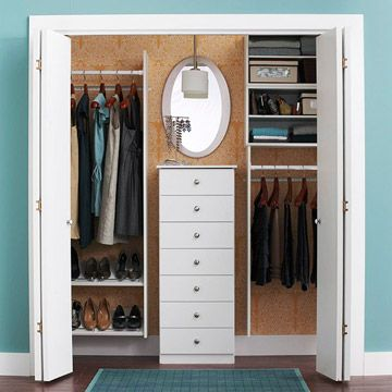 "What a clever way to make a smaller ""reach-in"" closet look spacious! I'll be keeping this in mind if we have a closet like this in our first home =)"