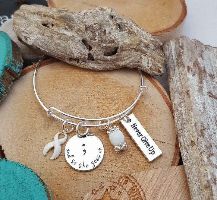 WH-1 Lung Cancer And So She Goes On / Chemo Gift Survivor Jewelry / Semicolon Bracelet Semicolon Jewelry / Never Give Up Osteoporosis
