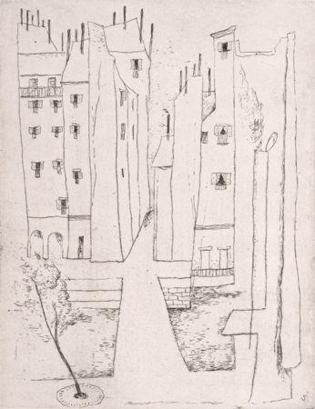 ŠímaJosef (1891-1971) | Pařížská ulice, 1947 | lept, papír s reliéfní zn. Elk, 86/300, rám, sklo, 39 x 30 cm