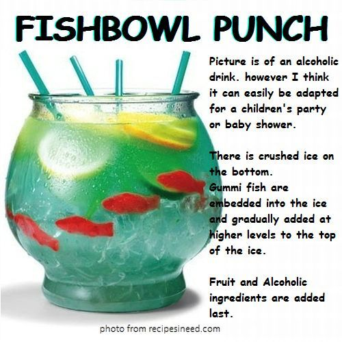 Fish bowl punch kids food pinterest for Fish bowl punch