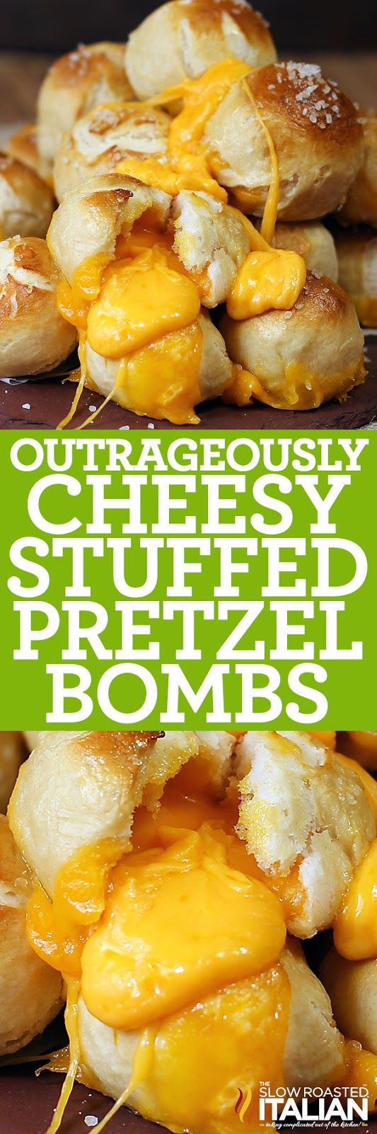 Outrageously Cheesy Stuffed Pretzel Bombs are the perfect bite size appetizer to impress your guests. Pretzel bites are loaded with cheddar cheese and baked to perfection. All of this comes together in under an hour.