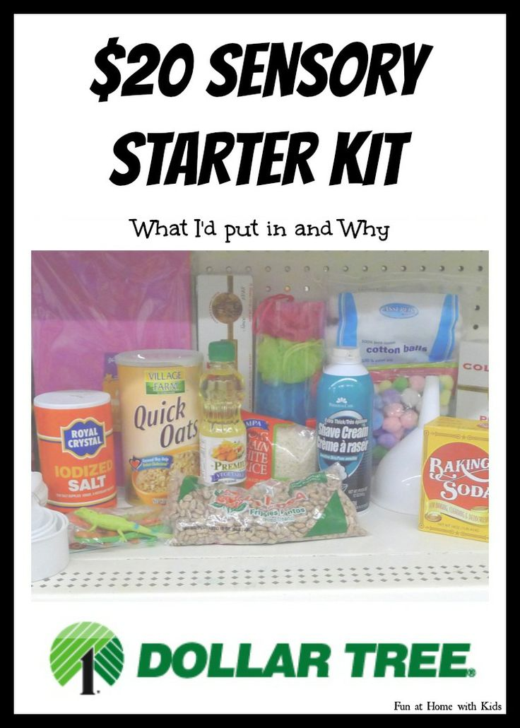 Sensory Starter Kit for under 20 dollars from the Dollar Tree -what I'd put in and why-  with FREE printable shopping list! FUN AT HOME WITH KIDS