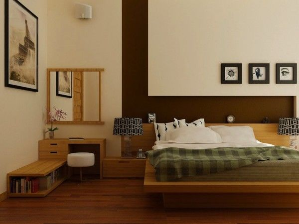 Vue de la chambre à coucher en bois