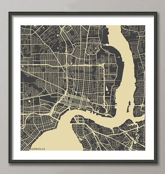 JACKSONVILLE Map Florida Giclee Fine Art Modern by MapMapMaps