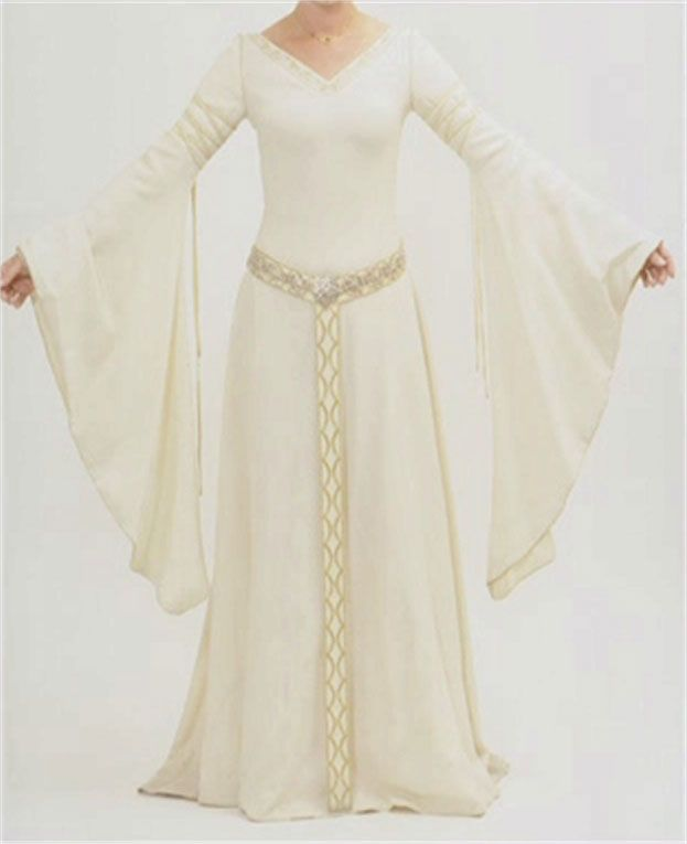 White wool dress from TTT. No seams or darts on the bodice -- could it be bias-cut draping that provides the shape?    http://www.costumersguide.com/eowyn/ww_front.jpg