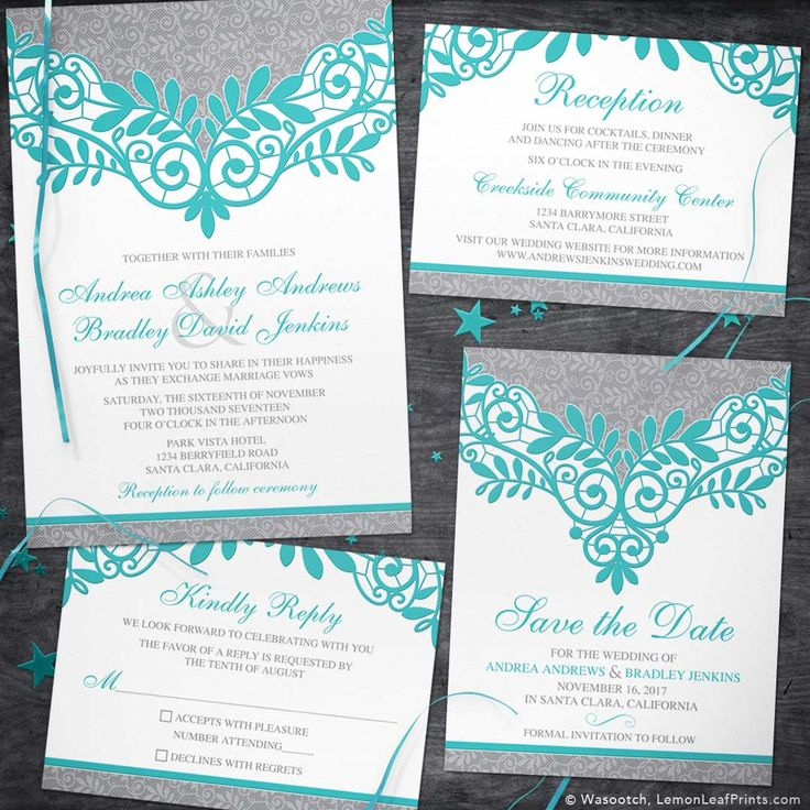Teal or turquoise and silver grey lace wedding invite set. Elaborate lace accents with a beautiful color combo. Unique and beautiful.