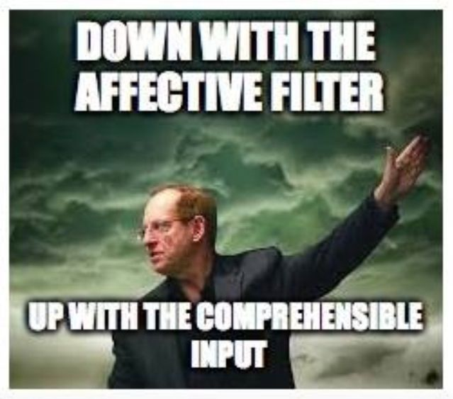 comprehensible input scaffolding and affective filter This keeps the affective filter low as students become comfortable and  levels, and scaffolding by working with  compelling comprehensible input is student-driven - the messages communicated and the language.