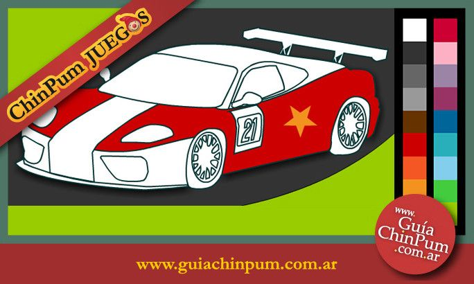 Coches de carrera para pintar en Chin Pum Juegos. Con los juegos interactivos los chicos ejercitan su motricidad fina al requerir un uso preciso del mouse. #Dibujos #Pintar #ChinPum