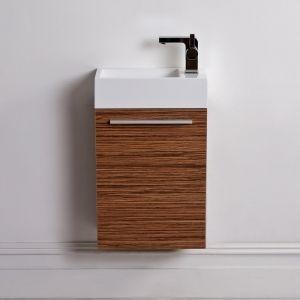 Lusso stone Quartet mini wall mounted cloakroom vanity unit Zebrano 400